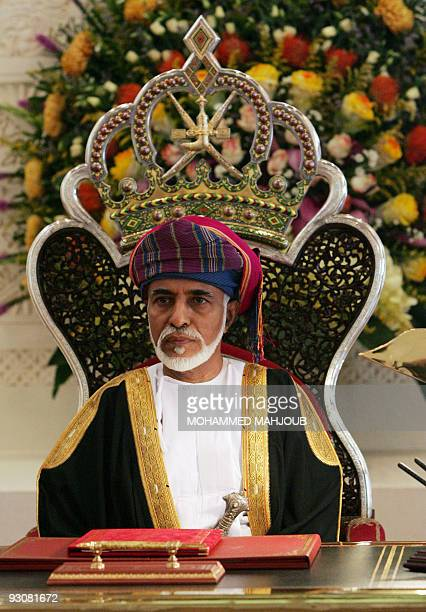 Omani leader sultan Qaboos bin Said attends the annual meeting of the Gulf sultanate's Majlis alShura or consultative council in Muscat on November...