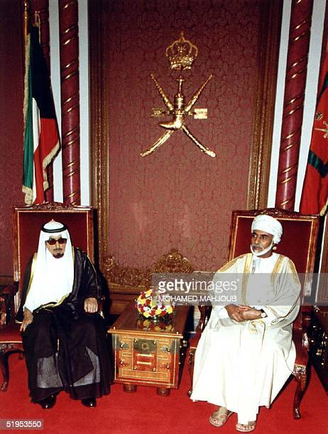 Omani leader Sultan Qaboos meets with the emir of Kuwait Sheikh Jaber alAhmad alSabah in Muscat 29 April 2000 on the sidelines of a consultative...