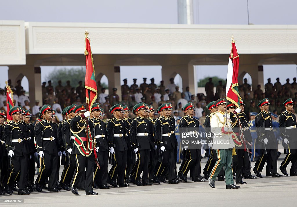 Omani soldiers march during a military parade in the capital Muscat marking the Sultanates 43th National Day on November 18 2013 AFP PHOTO/MOHAMMED...