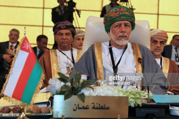 Oman's Foreign Minister Yusuf bin Alawi attends the preparatory meeting of Arab Foreign Ministers during the 28th Summit of the Arab League at the...