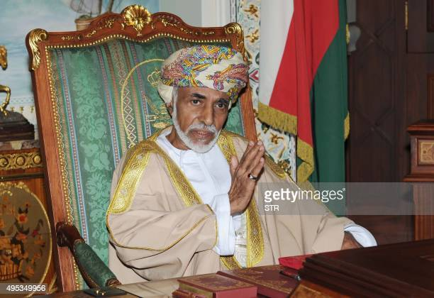 Oman's Sultan Qaboos Bin Said is pictured during a cabinet meeting at the royal palace in Muscat on November 1 2015 The Omani leader appeared in good...