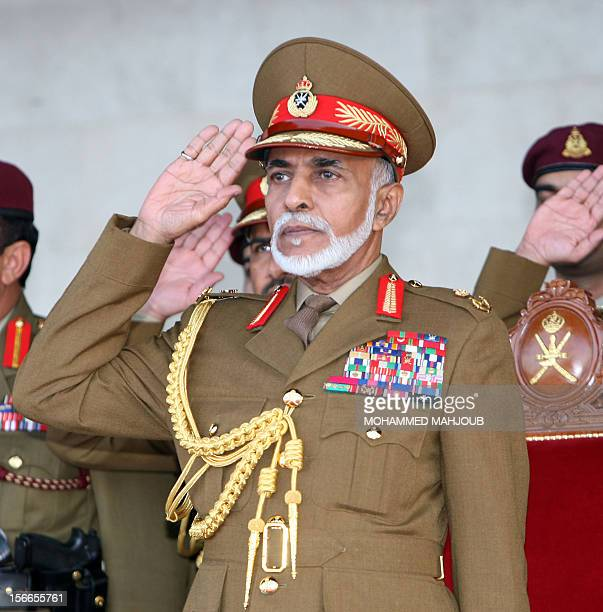 Oman's Sultan Qaboos bin Said salutes during the military parade in the capital Muscat marking the Sultanate's 42th National Day on November 18 2012...