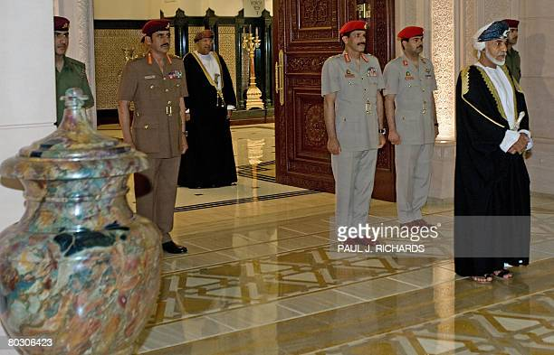 Oman's Sultan Qaboos bin Said waits for the arrival of US Vice President Dick Cheney for private meetings and dinner at the palace on March 19 2008...