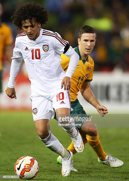 Omar Abdulrahman of the United Arab Emirates controls the ball during the Asian Cup Semi Final match between the Australian Socceroos and the United...
