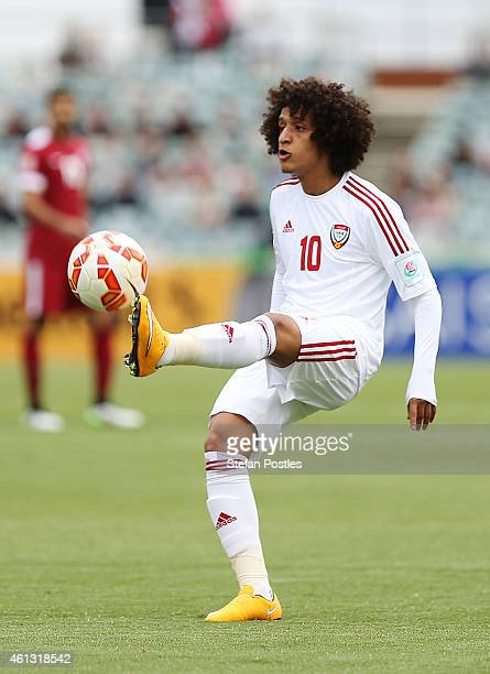 Omar Abdulrahman of the United Arab Emirates in action during the 2015 Asian Cup match between the United Arab Emirates and Qatar at Canberra Stadium...
