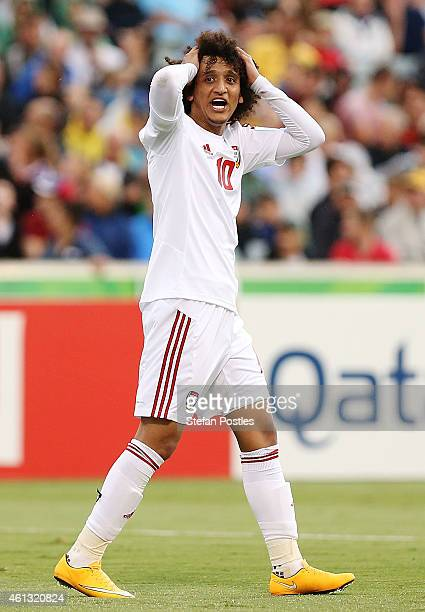 Omar Abdulrahman of the United Arab Emirates reacts during the 2015 Asian Cup match between the United Arab Emirates and Qatar at Canberra Stadium on...