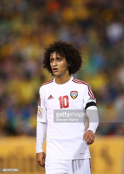 Omar Abdulrahman of the United Arab Emirates shows his dejection at full time during the Asian Cup Semi Final match between the Australian Socceroos...