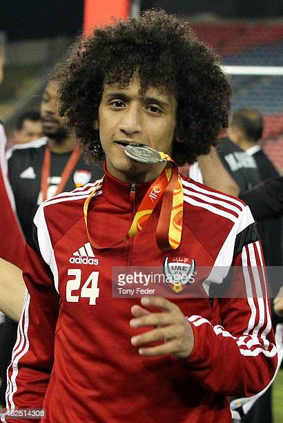 Omar Abdulrahman of the United Arab Emirates with his third place medal during the Third Place 2015 Asian Cup match between Iraq and the United Arab...