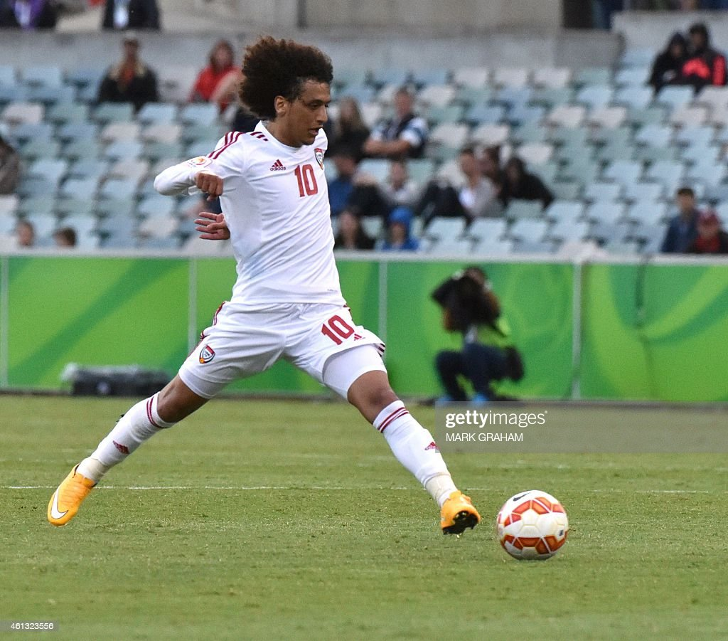 <a gi-track='captionPersonalityLinkClicked' href=/galleries/search?phrase=Omar+Abdulrahman&family=editorial&specificpeople=6420654 ng-click='$event.stopPropagation()'>Omar Abdulrahman</a> of UAE controls the ball during the Asian Cup football match between UAE and Qatar in Canberra on January 11, 2015.