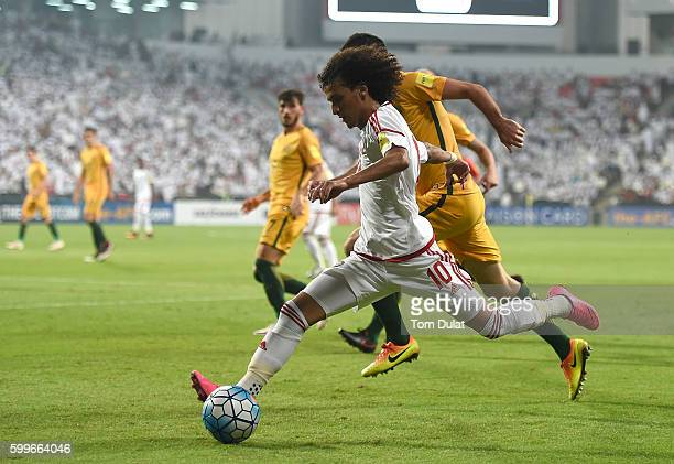 Omar Abdulrahman of UAE in action during the 2018 FIFA World Cup Qualifier match between UAE and Australia at Mohamed Bin Zayed Stadium on September...