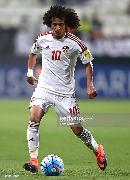 Omar Abdulrahman of UAE in action during the 2018 FIFA World Cup Qualifier match between UAE and Thailand at Mohamed Bin Zayed Stadium on October 6...
