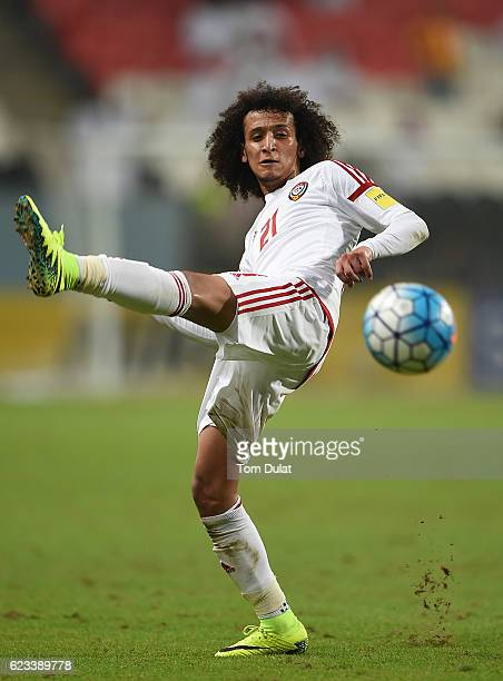 Omar Abdulrahman of UAE in action during the 2018 FIFA World Cup Qualifier match between UAE and Iraq at Mohamed Bin Zayed Stadium on November 15...