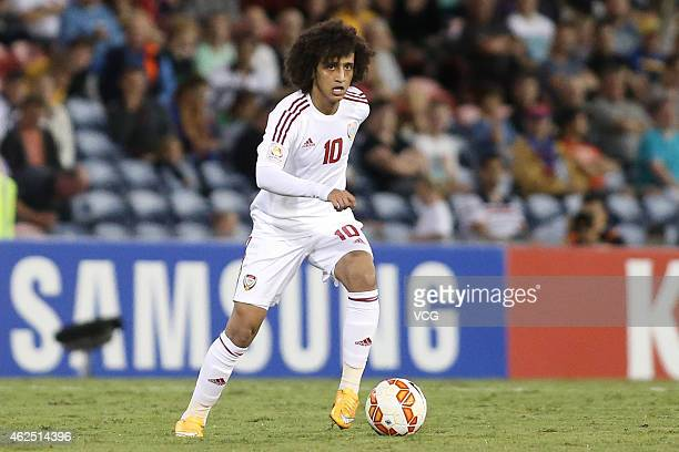 Omar Abdulrahman of United Arab Emirates runs with the ball during the Asian Cup thirdplace playoff soccer match between Iraq and the United Arab...