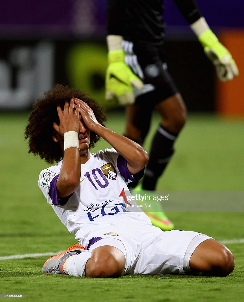 <a gi-track='captionPersonalityLinkClicked' href=/galleries/search?phrase=Omar+Abdulrahman&family=editorial&specificpeople=6420654 ng-click='$event.stopPropagation()'>Omar Abdulrahman</a> reacts after having his shot at goal saved during the Presidents Cup Quarter Final match between Al Ain and Al Nasr at Al Maktoum Stadium on May 23, 2015 in Dubai, United Arab Emirates.