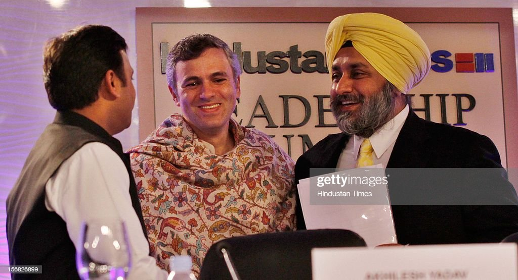 Omar Abudullah (J&K Chief minister), Sukhbir Singh Badal (Deputy Chief Minister of Punjab), Akhilesh Yadav(Chief minister of Uttar Pradesh) during the Second Day of Hindustan Times Leadership Summit on November 17, 2012 in New Delhi, India.