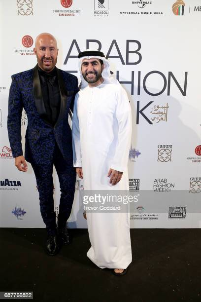 Omar Al Marzooqi and Wadih El Najjar attend the Arab Fashion Week Ready Couture Resort 2018 Gala Dinner on May 202017 at Armani Hotel in Dubai United...