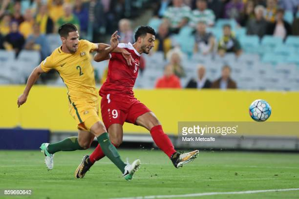 Omar Al Soma of Syria scores a goal during the 2018 FIFA World Cup Asian Playoff match between the Australian Socceroos and Syria at ANZ Stadium on...