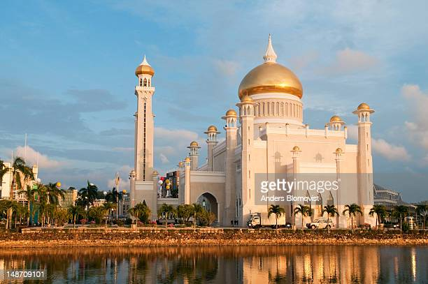 Omar Ali Saifuddien Mosque reflected in the lagoon at sunset.
