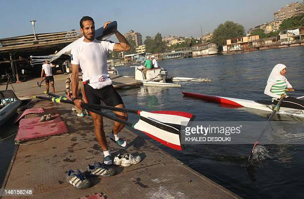 Omar alSubhi of Egypt's national rowing team attends a training session in the Nile River in Cairo on June 11 2012 in preparation for next month's...
