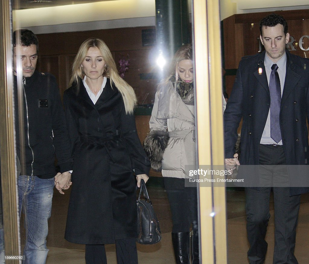 Omar Ayyasshi, Cayetana Guillen Cuervo, Maria Adanez and David Murphy attend the funeral chapel for actor Fernando Guillen at Tres Cantos Chapel on January 17, 2013 in Madrid, Spain.
