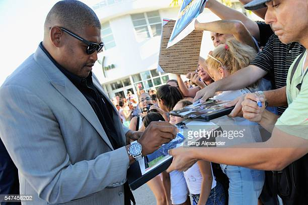 Omar Benson Miller attends the HBO Ballers Season 2 Red Carpet Premiere and Reception on July 14 2016 at New World Symphony in Miami Beach Florida