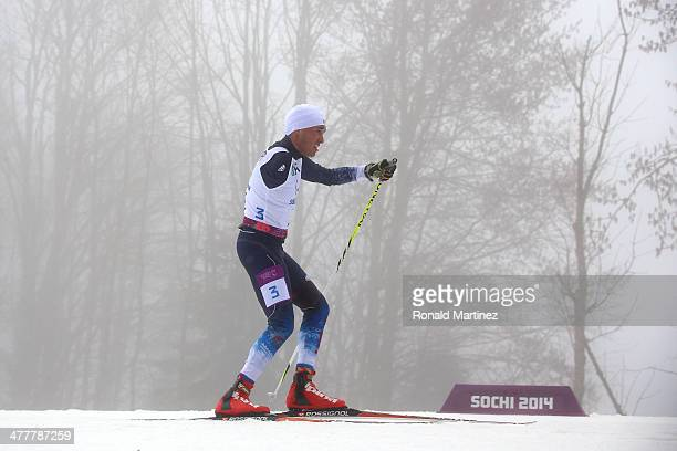 Omar Bermejo of the United States competes the Men's Biathlon 125km Standing during day four of Sochi 2014 Paralympic Winter Games at Laura...