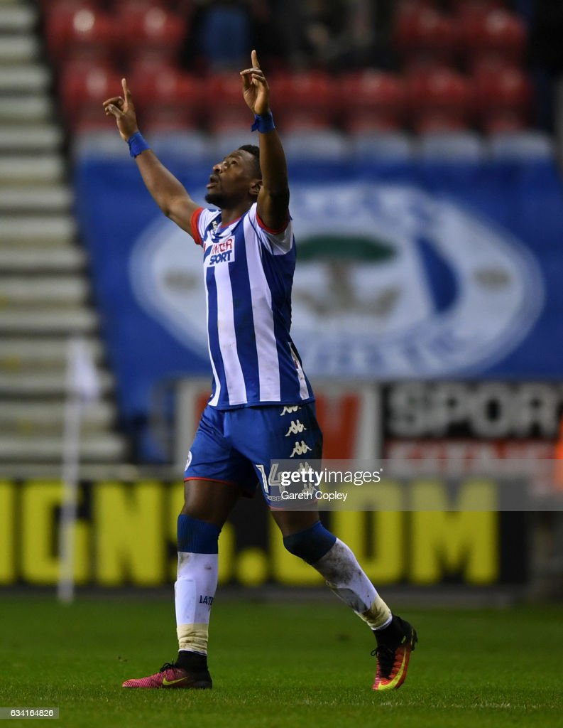Omar Bogle of Wigan celebrates scoring his second goal during the Sky Bet Championship match between Wigan Athletic and Norwich City at DW Stadium on February 7, 2017 in Wigan, England.