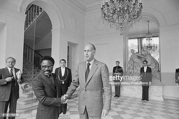 Omar Bongo meets French President Valery Giscard d'Estaing in the Palais de l'Elysee Bongo was elected President of the Gabonese Republic in 1967