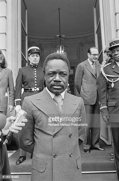 Omar Bongo President of Gabon meets French Prime Minister Jacques Chirac at the Palais de l'Elysee during his state visit to Paris Bongo who was...