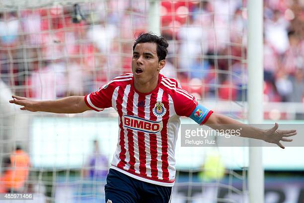 Omar Bravo of Chivas celebrates after scoring the opening goal during a 7th round match between Chivas and Chiapas as part of the Apertura 2015 Liga...