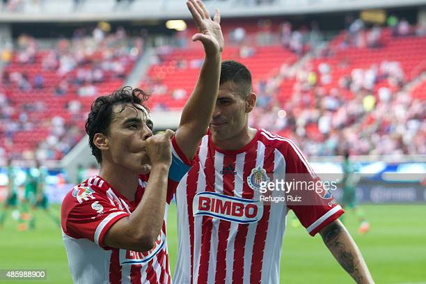 Omar Bravo of Chivas celebrates after scoring the third goal of his team during a 7th round match between Chivas and Chiapas as part of the Apertura...