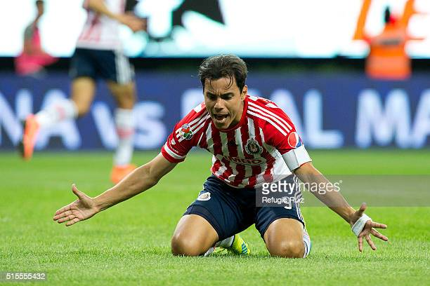 Omar Bravo of Chivas reacts during the 10th round match between Chivas and America as part of the Clausura 2016 Liga MX at Chivas Stadium on March 13...