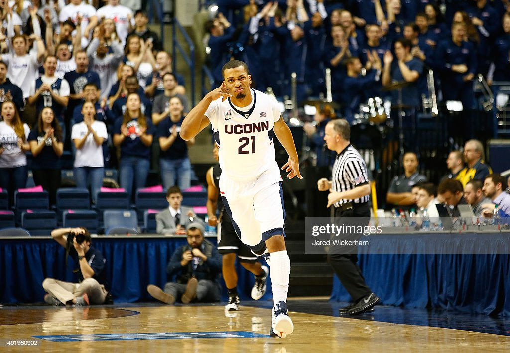 Omar Calhoun of the Connecticut Huskies celebrates his threepoint shot in the first half against the Central Florida Knights during the game at Harry...