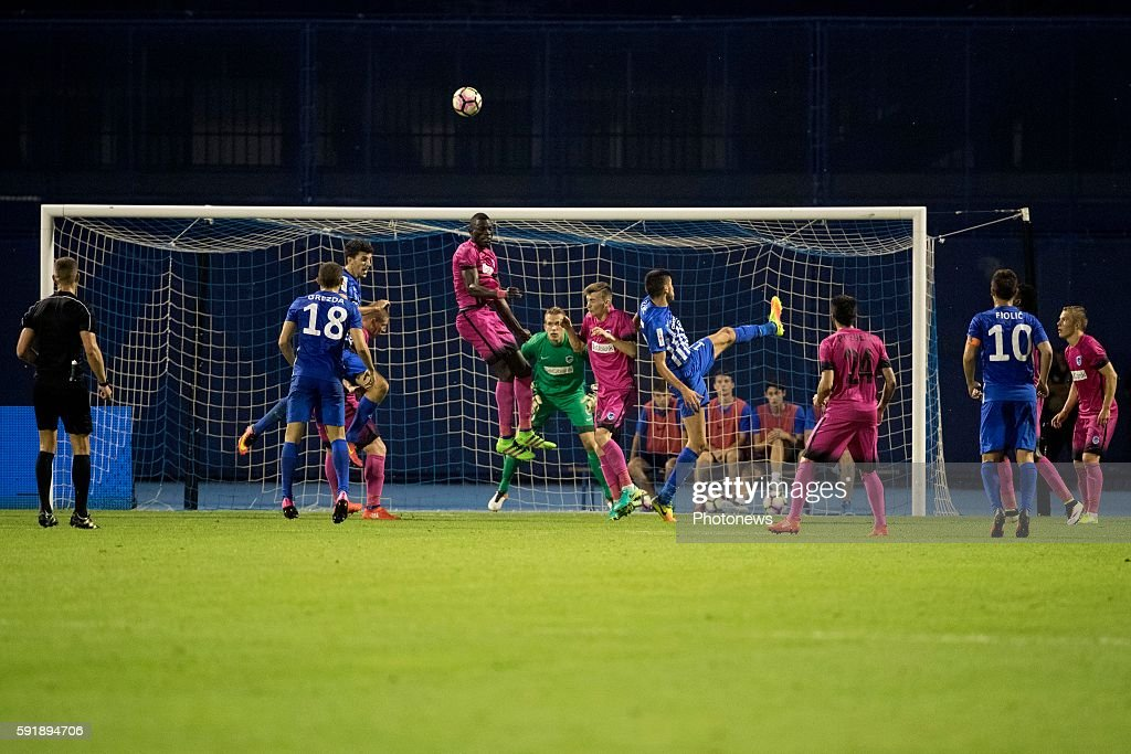 04 Omar Colley defender of Krc Genk 16 Josip Coric during UEFA Europa League play off round 1st Leg match between Lokomotiva Zagreb and KRC Genk on...