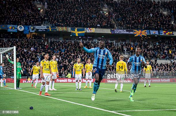 Omar Colley of Djurgarden IF celebrates after scoring 50 during the Allsvenskan match between Djurgardens IF and Falkenbergs FF at Tele2 Arena on...