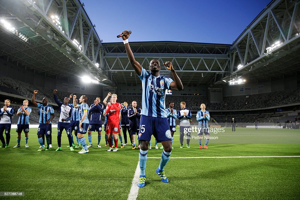Omar Colley of Djurgardens IF celebrates after the victory during the Allsvenskan match between Djurgardens IF and Ostersunds FK at Tele2 Arena on May 2, 2016 in Stockholm, Sweden.