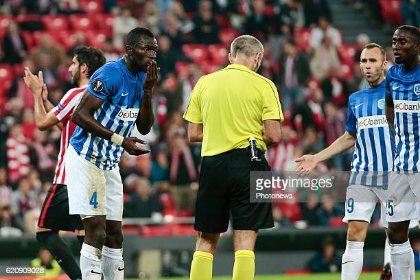 Omar Colley of KRC Genk looks dejected pictured during the UEFA Europa League group F stage match between Athletic Club de Bilbao and KRC Genk at the...