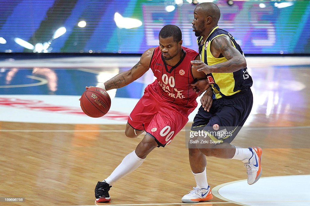 Omar Cook #00 of Caja Laboral competes with Bo McCalebb of Fenerbahce Ulker during the 2012-2013 Turkish Airlines Euroleague Top 16 Date 4 between Fenerbahce Ulker Istanbul v Caja Laboral Vitoria at Fenerbahce Ulker Sports Arena on January 18, 2013 in Istanbul, Turkey.