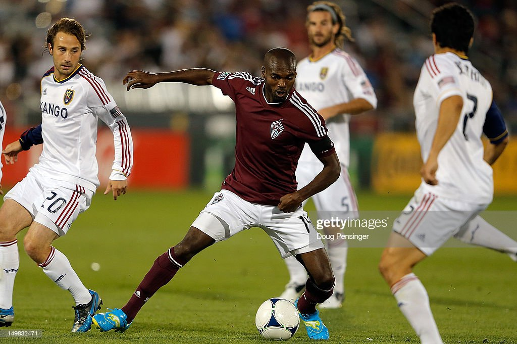 Omar Cummings of Colorado Rapids controls the ball against Real Salt Lake at Dick's Sporting Goods Park on August 4 2012 in Commerce City Colorado...