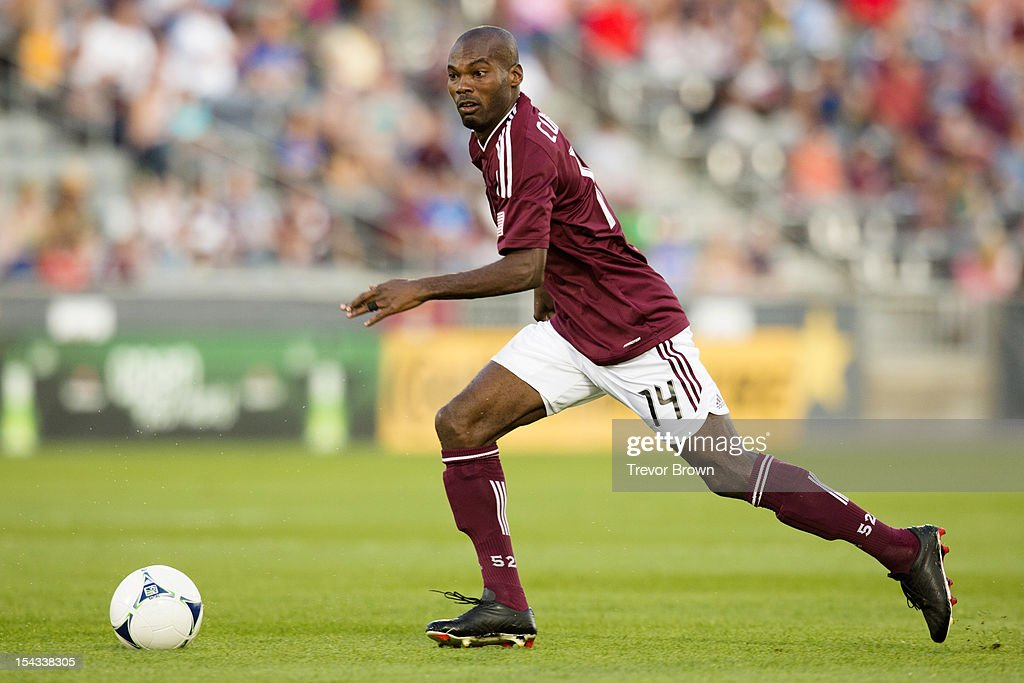 Omar Cummings of the Colorado Rapids controls the ball against Chivas USA during their MLS match at Dick's Sporting Goods Park September 18 2012 in...