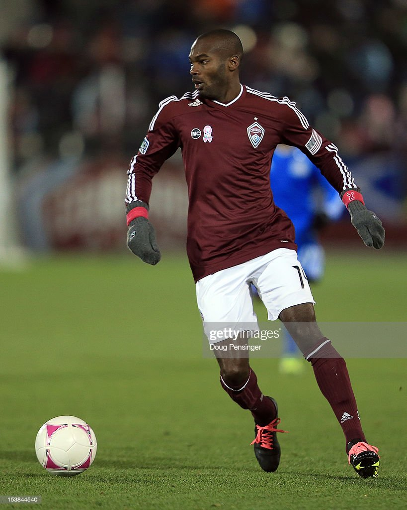 Omar Cummings of the Colorado Rapids controls the ball against the San Jose Earthquakes at Dick's Sporting Goods Park on October 6 2012 in Commerce...
