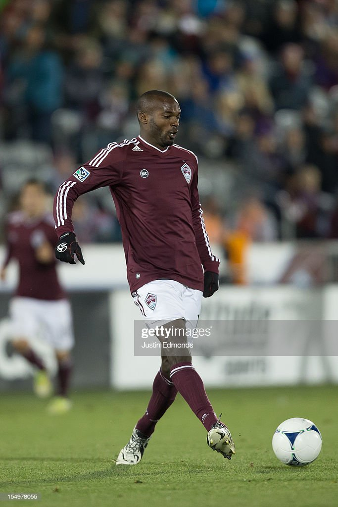 Omar Cummings of the Colorado Rapids in action against the Houston Dynamo at Dick's Sporting Goods Park on October 27 2012 in Commerce City Colorado