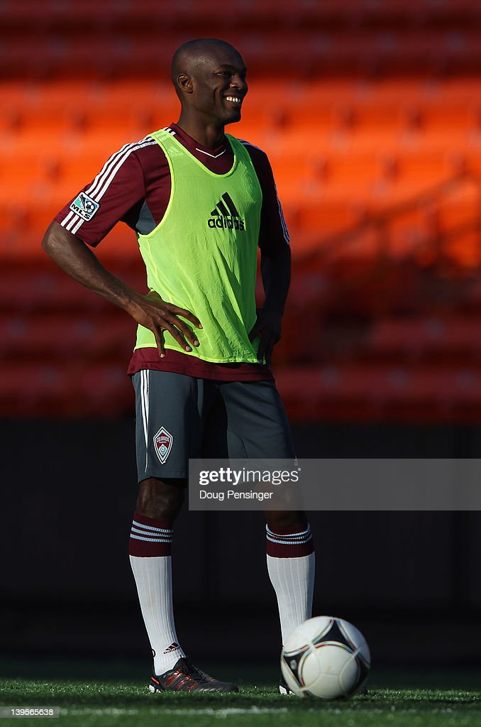 Omar Cummings #14 of the Colorado Rapids looks on during a training session at the Aloha Stadium on February 22, 2012 in Honolulu, Hawaii. The Rapids are preparing for the Hawaiian Islands Invitational Soccer Tournament.