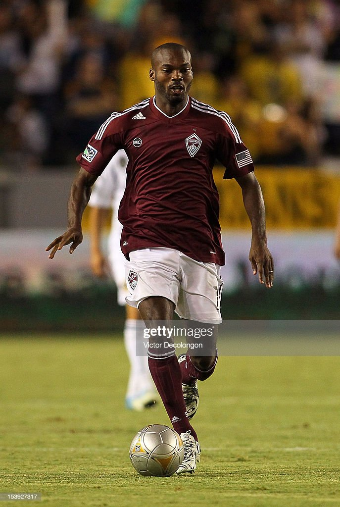 Omar Cummings of the Colorado Rapids paces the ball during the MLS match against the Los Angeles Galaxy at The Home Depot Center on September 14 2012...