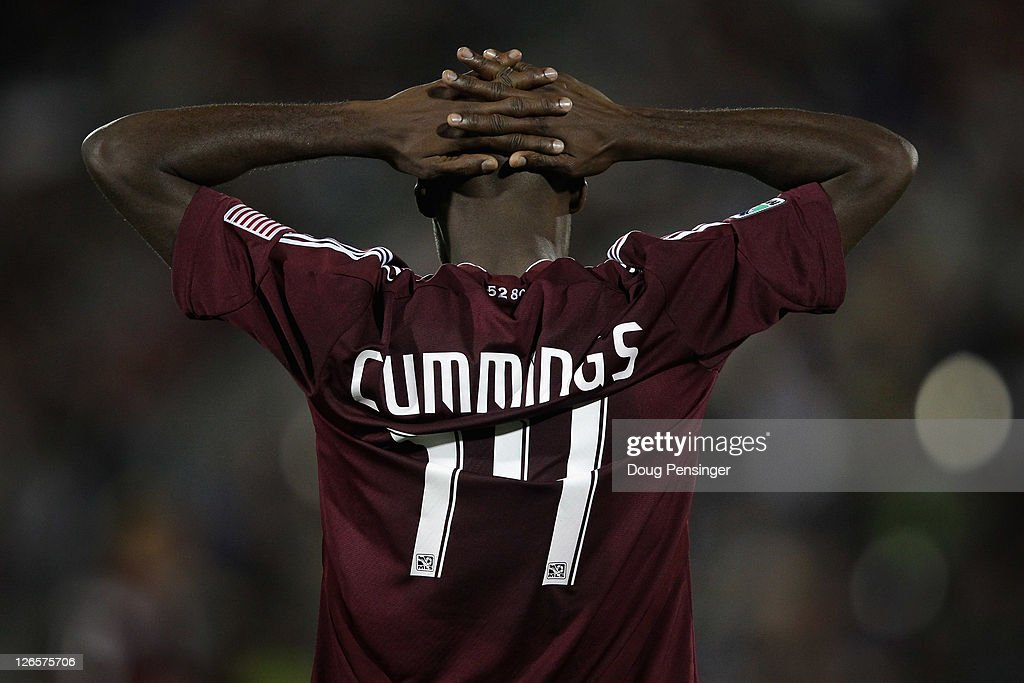 Omar Cummings of the Colorado Rapids reacts after being called offside against the San Jose Earthquakes at Dick's Sporting Goods Park on September 24...