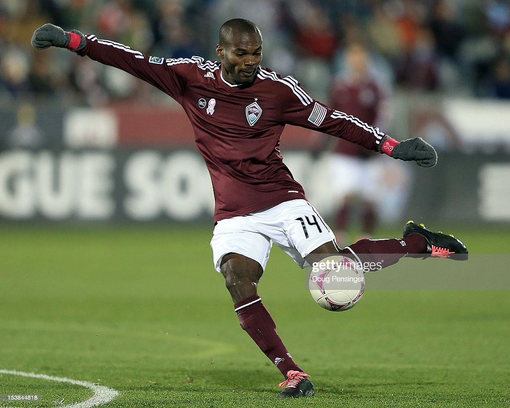 Omar Cummings of the Colorado Rapids strikes the ball against the San Jose Earthquakes at Dick's Sporting Goods Park on October 6 2012 in Commerce...