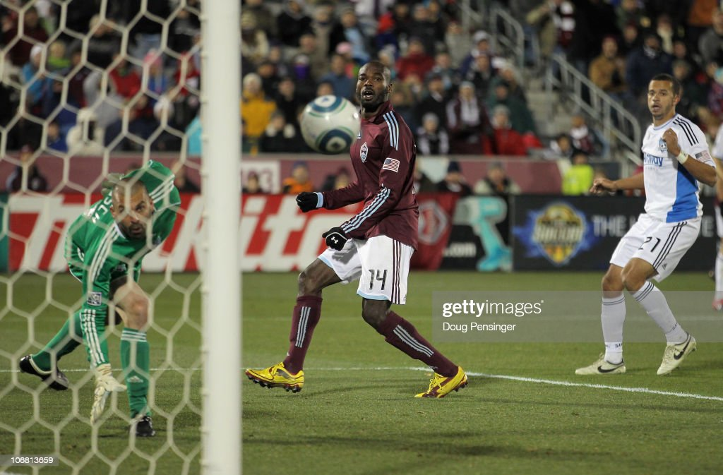 Omar Cummings of the Colorado Rapids watches as a shot by Kosuke Kimura goes into the goal as goalkeeper Jon Busch of the San Jose Earthquakes is too...