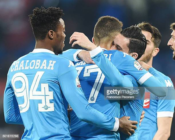 Omar El Kaddouri Nathaniel Chalobah and Josè Maria Callejon of Napoli celebrate a goal 30 scored by Josè Maria Callejon during the TIM Cup match...