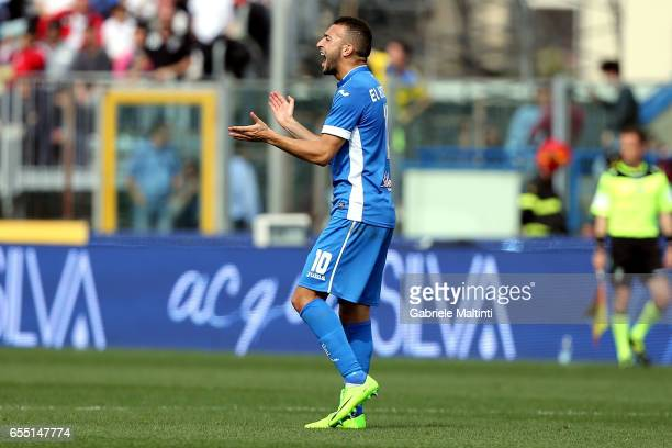 Omar El Kaddouri of Empoli FC celebrates after scoring a goal during the Serie A match between Empoli FC and SSC Napoli at Stadio Carlo Castellani on...