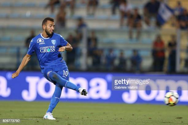Omar El Kaddouri of Empoli FC misses the penalty during the TIM Cup match between Empoli FC and Renate at Stadio Carlo Castellani on August 5 2017 in...